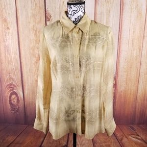 🍾Peck & Peck Sheer  Button Up Long Sleeve Blouse
